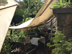 Canopy collapsed over the terrace after the tree branch had fallen.