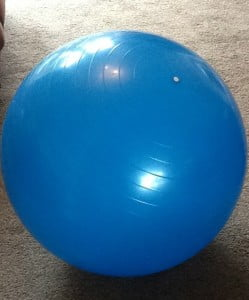 Blue exercise / gym ball that was Louise's companion for 13 weeks as she recovered from her bulging disc.
