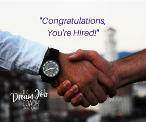 "Handshake with the words: ""Congratulations, You're Hired"" and the logo of The Dream Job Coach® Louise Jenner."