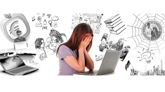 Woman with her hands over her face, staring at laptop with images of all kinds of other tasks swirling around her head