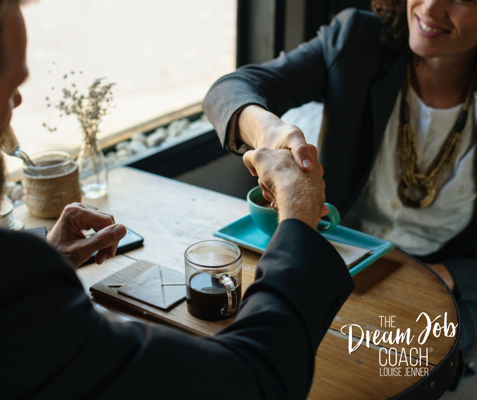 Man and woman shaking hands across a table with coffee cups - Louise Jenner, The Dream Job Coach - Career Coaching - Gloucester