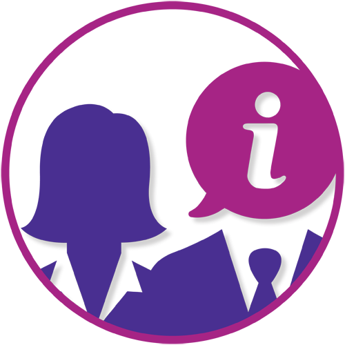 Graphic - pink circle with purple silhouette of female and male head and shoulders. The male head is a pink thought bubble with an i inside. Copyright: Louise Jenner, The Dream Job Coach
