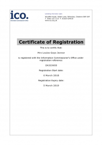 A copy of Louise Jenner's ico registration certificate.