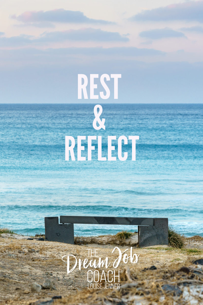 Bench overlooking the ocean - The words: Rest & Reflect are overlaid.