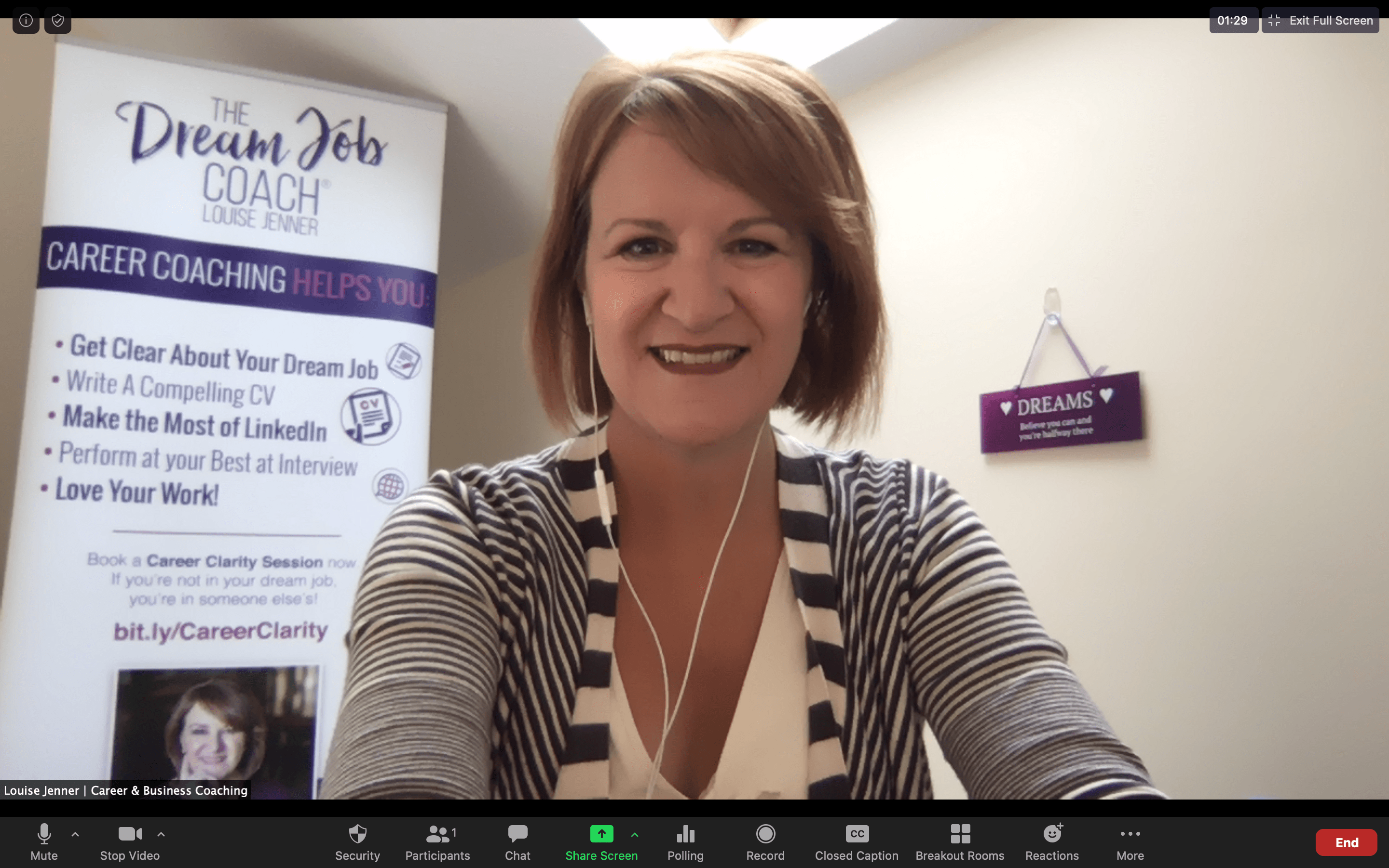 Louise Jenner, The Dream Job Coach, hosting an online event on zoom.