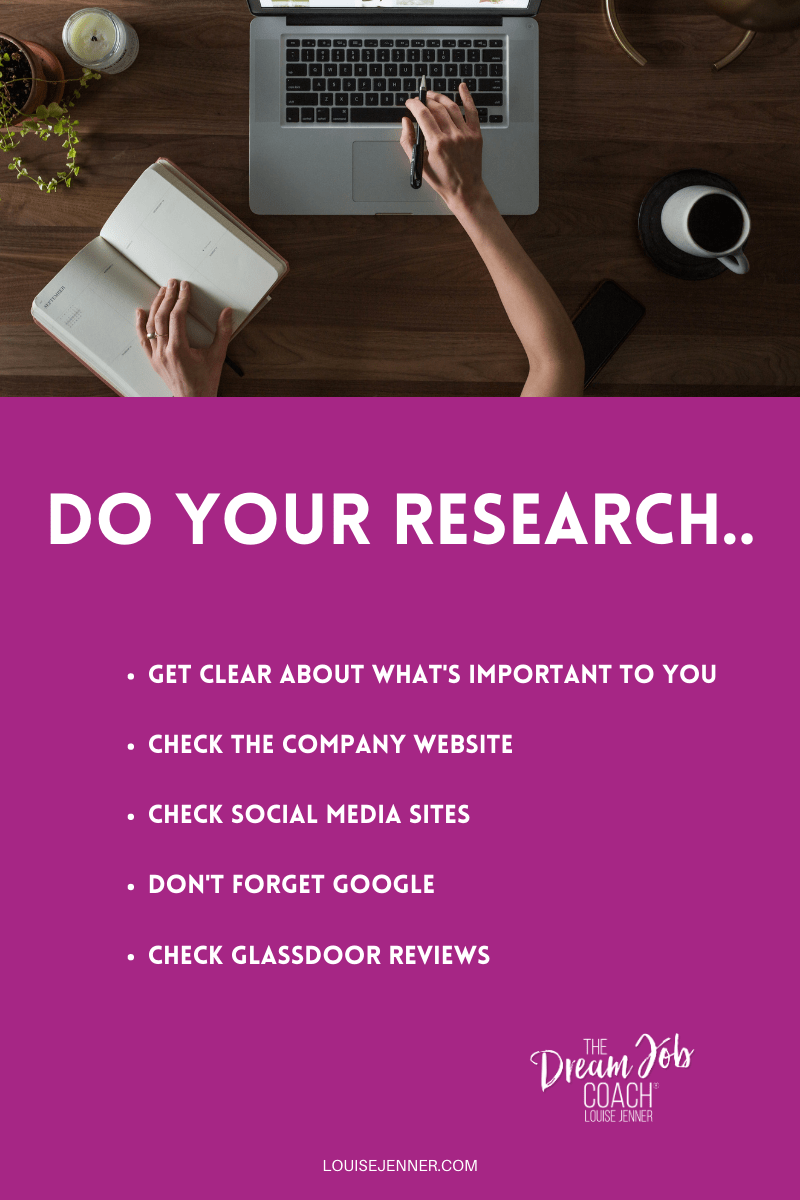 Do your research when preparing for your next job interview! - Louise Jenner, The Dream Job Coach - Career Coaching - Online - Devon