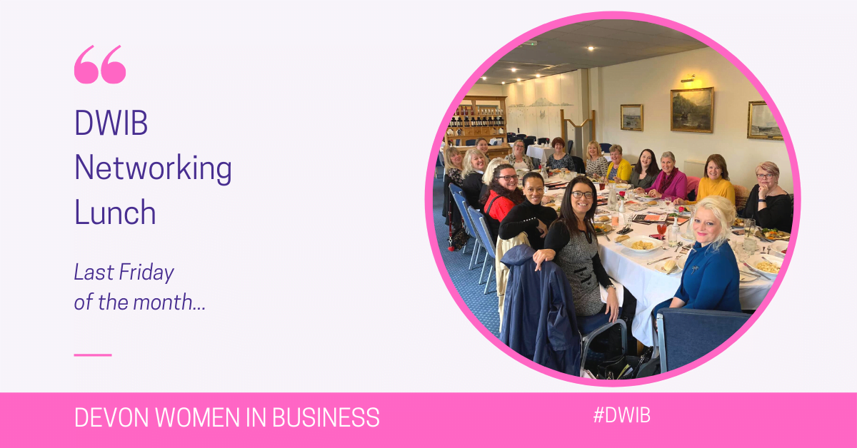 DWIB Networking Lunch. Last Friday of the month. #DWIB Picture of 20 business women at a long lunch table.