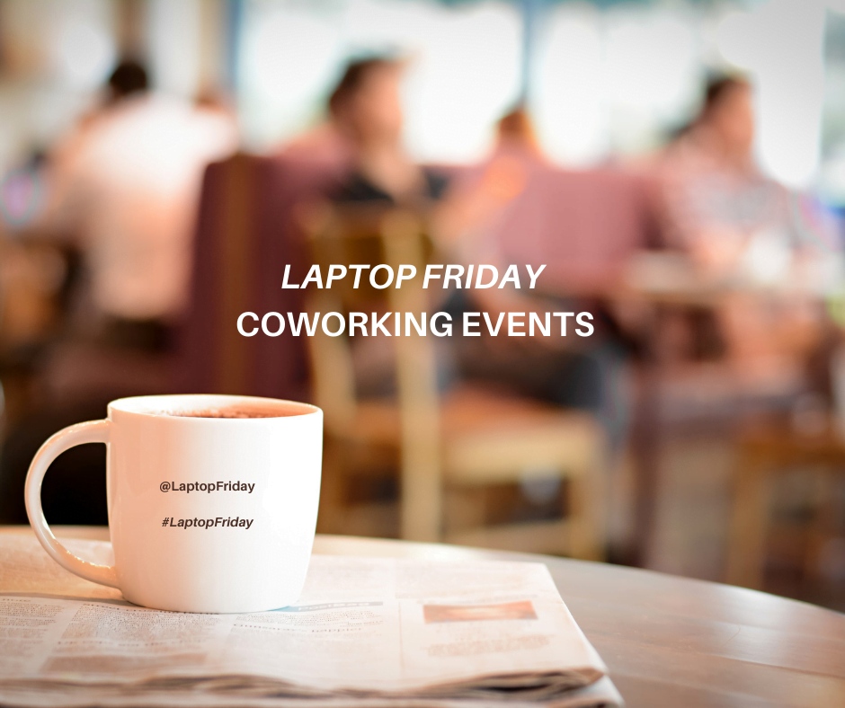 Mug on a newspaper with blurred image of a busy coffee shop in the background. Laptop Friday Coworking Events